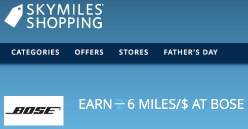 SkyMiles Shopping Earnings