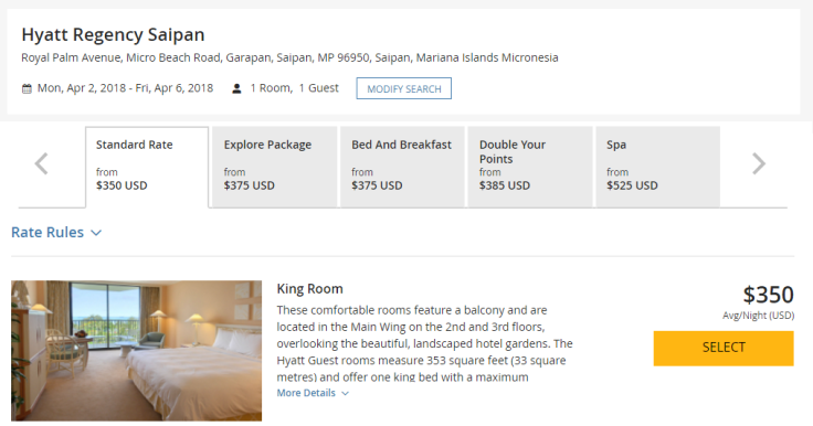 hyatt regency saipan room rate