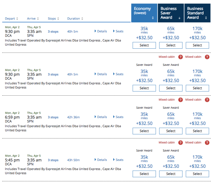 saipan award availability united