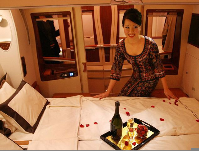 singapore airlines double bed flower petals