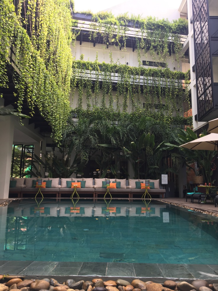 aviary hotel pool courtyard