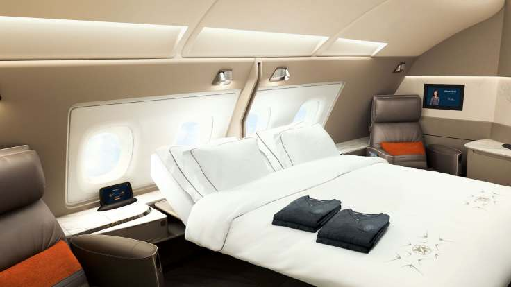 new singapore first class suite double bed