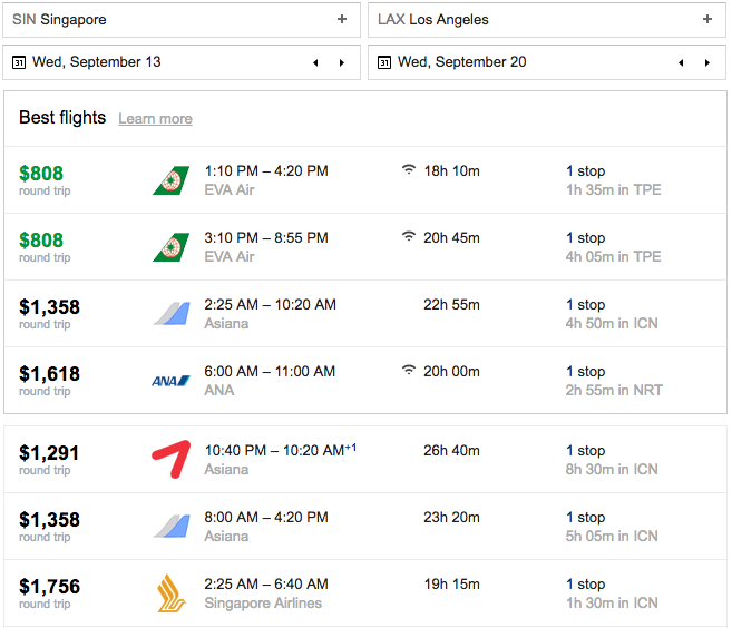 singapore airlines sin-lax price comparison.png