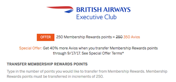 british airways transfer bonus