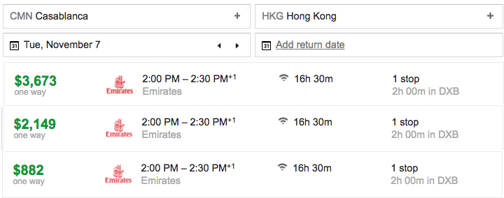 emirates cmn-dxb-hkg price comparison