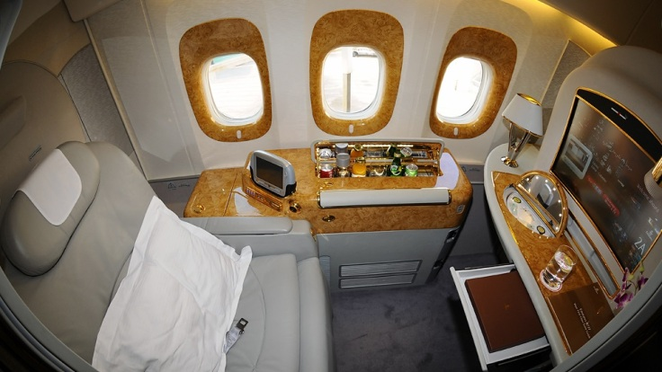 emirates first class seat wood trim