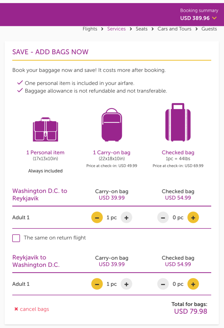 wow air airfare plus bags
