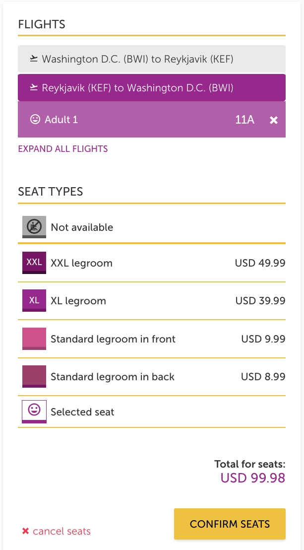 wow air airfare plus seats