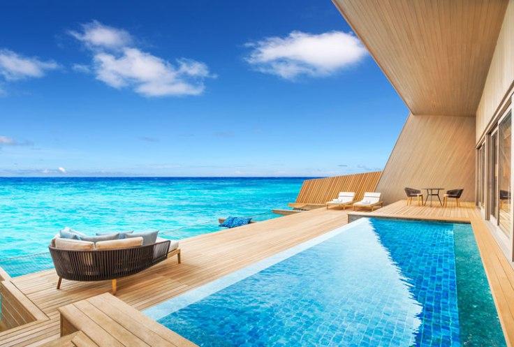st regis maldives hotel overwater suite deck promo