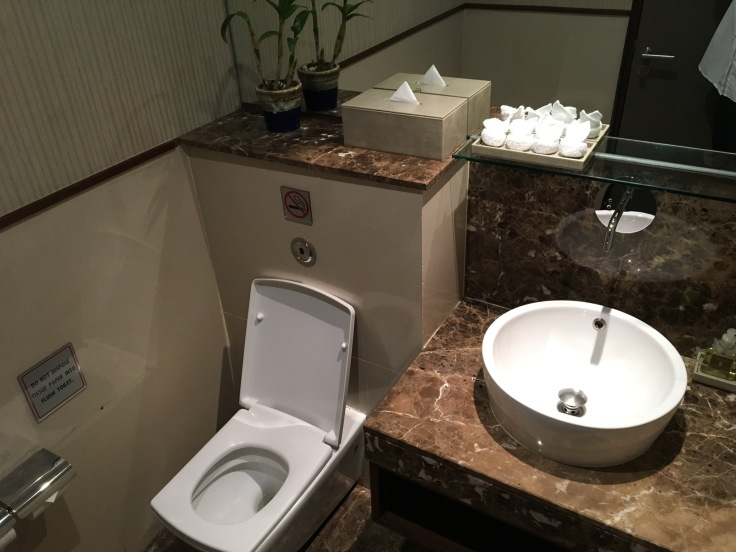 thai royal first lounge bathroom private stall