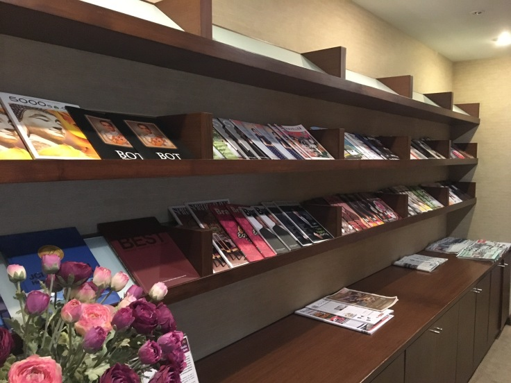 thai royal first lounge literature rack