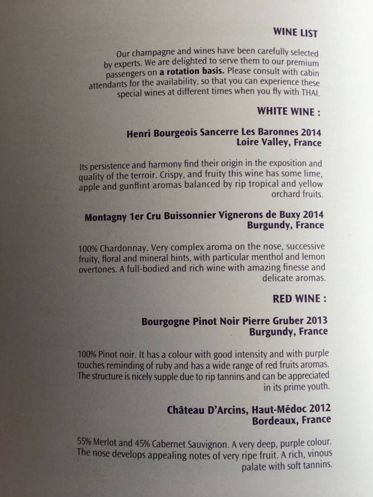 thai royal silk service wine list page 1