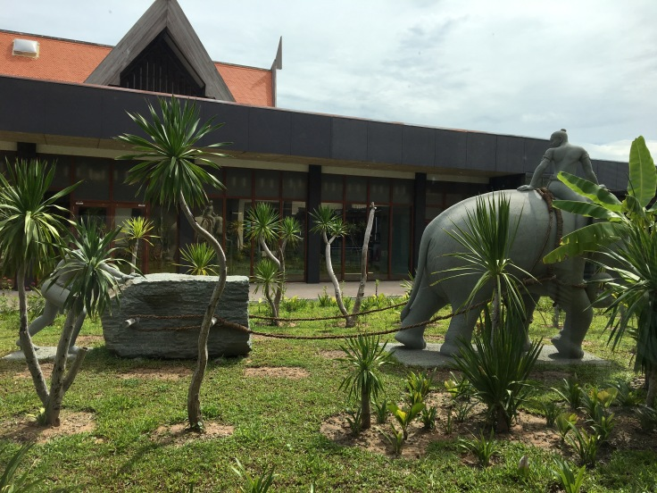 siem reap airport lounge courtyard elephant