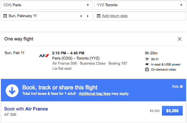 air france business google flights airfare