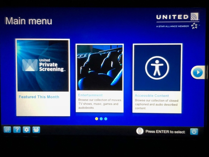 united airlines polaris business diamond entertainment menu