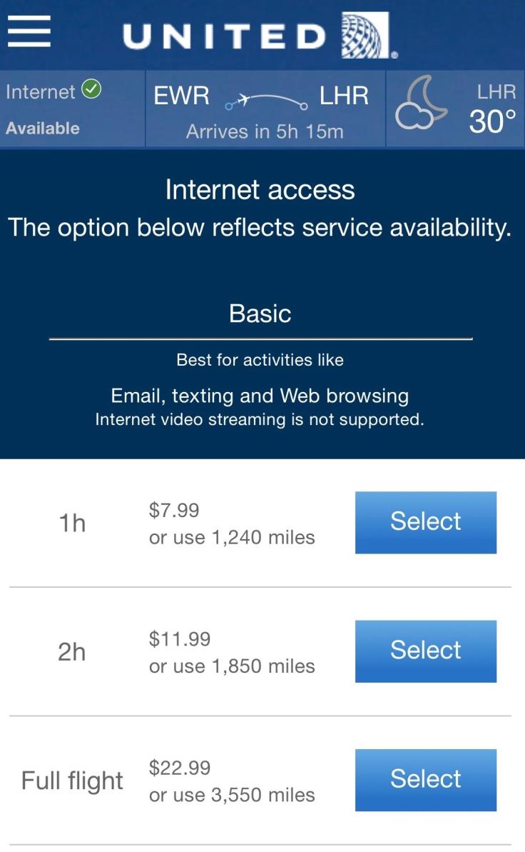 united airlines polaris business diamond entertainment wifi options