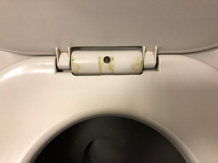 united airlines polaris business diamond hard bathroom toilet gunk