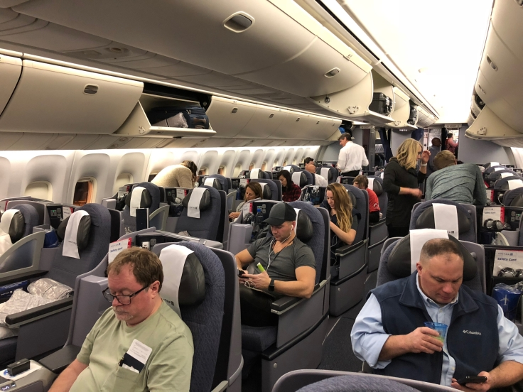 united airlines polaris business diamond hard cabin view rear