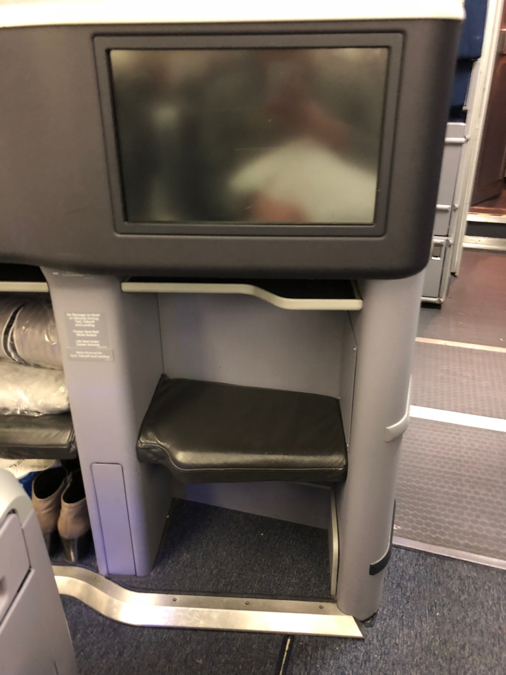 united airlines polaris business diamond hard seat foot cubby