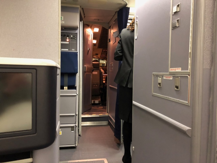 united airlines polaris business diamond hard seat view forward