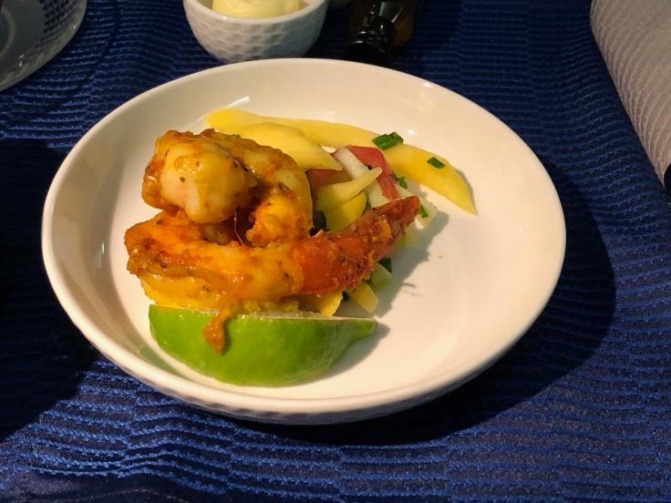 united airlines polaris business diamond soft dining appetizer shrimp