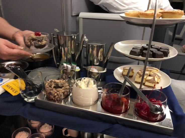 united airlines polaris business diamond soft dining dessert cart