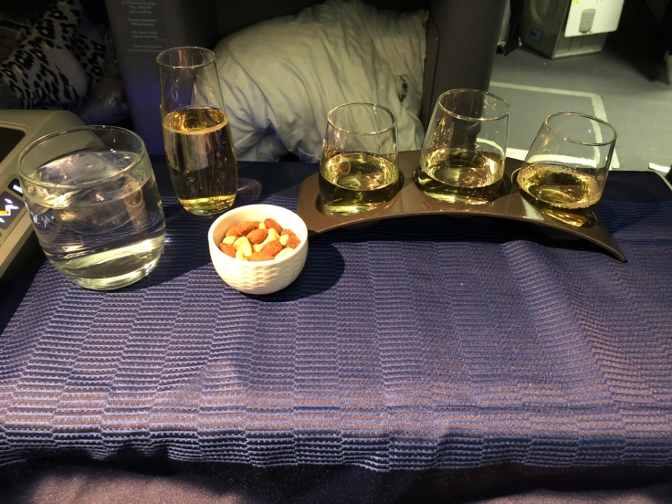 united airlines polaris business diamond soft dining wine tasting