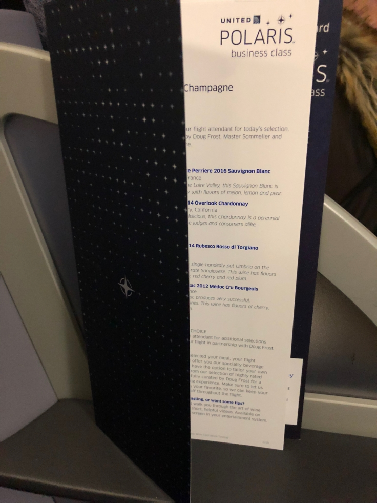 united airlines polaris business diamond soft menu 0