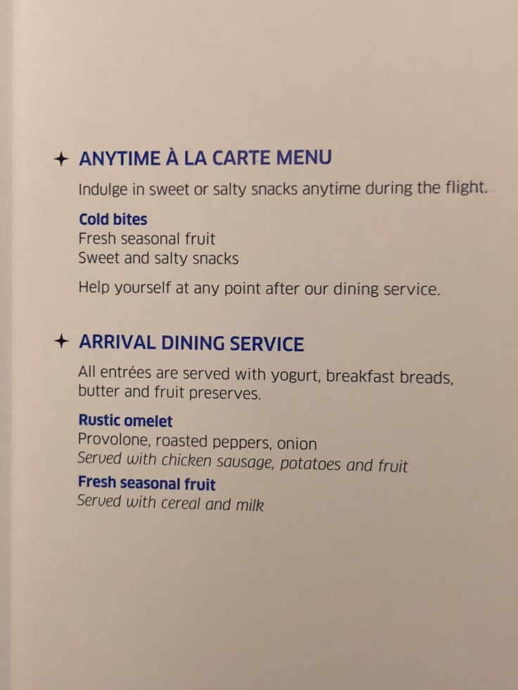 united airlines polaris business diamond soft menu 2