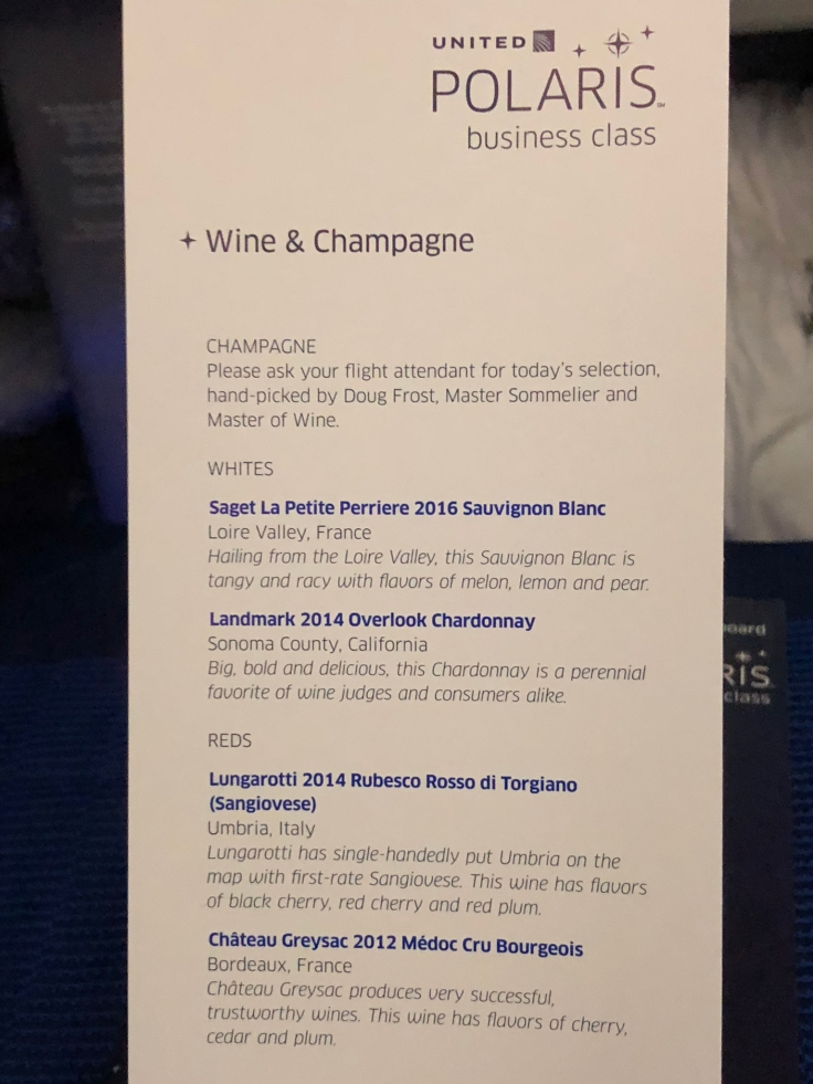 united airlines polaris business diamond soft menu beverage list 1