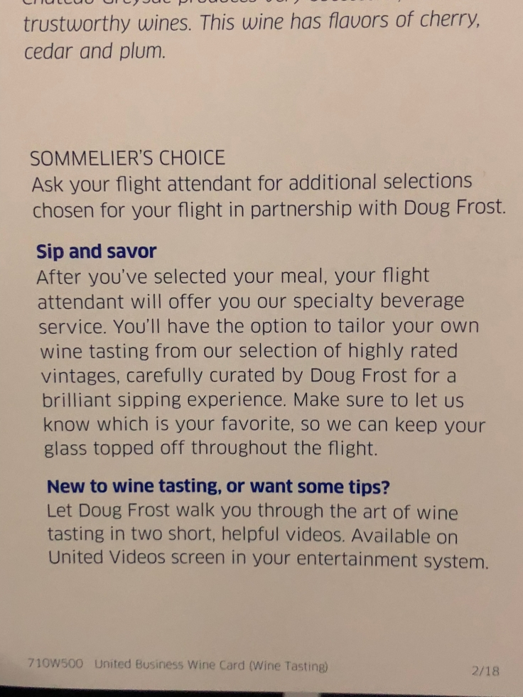 united airlines polaris business diamond soft menu beverage list 2