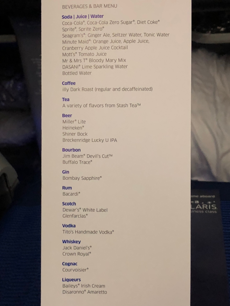 united airlines polaris business diamond soft menu beverage list 3