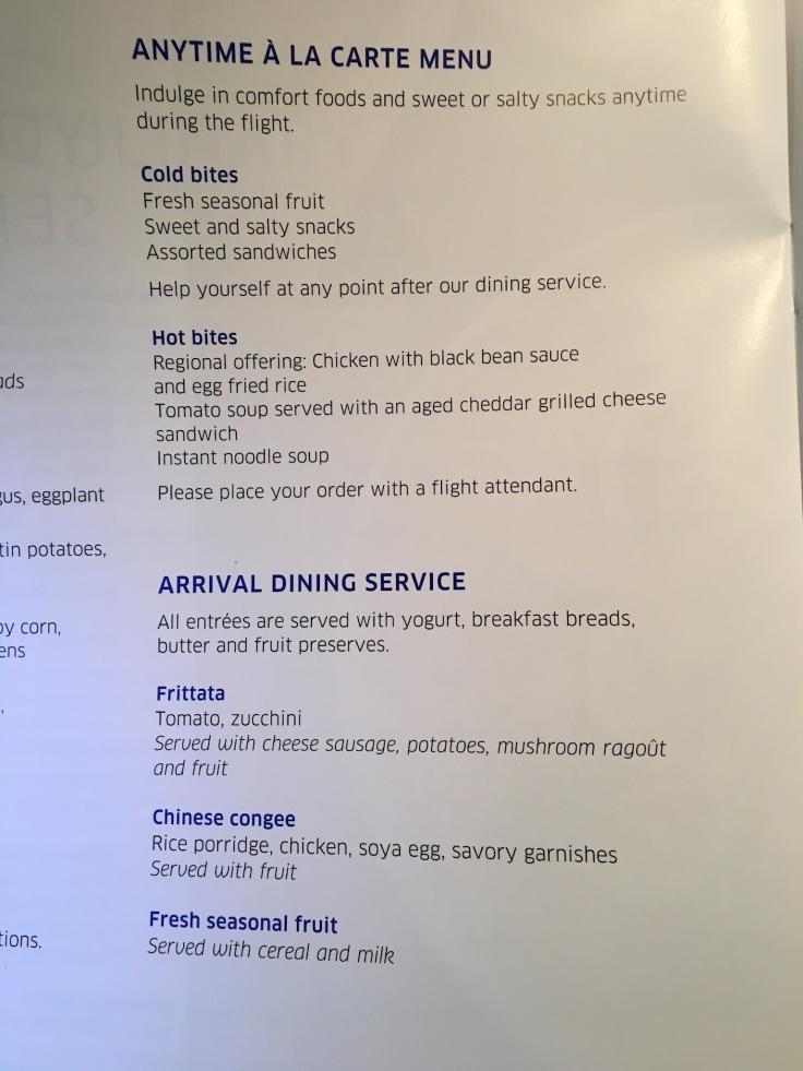 united polaris first soft menu breakfast