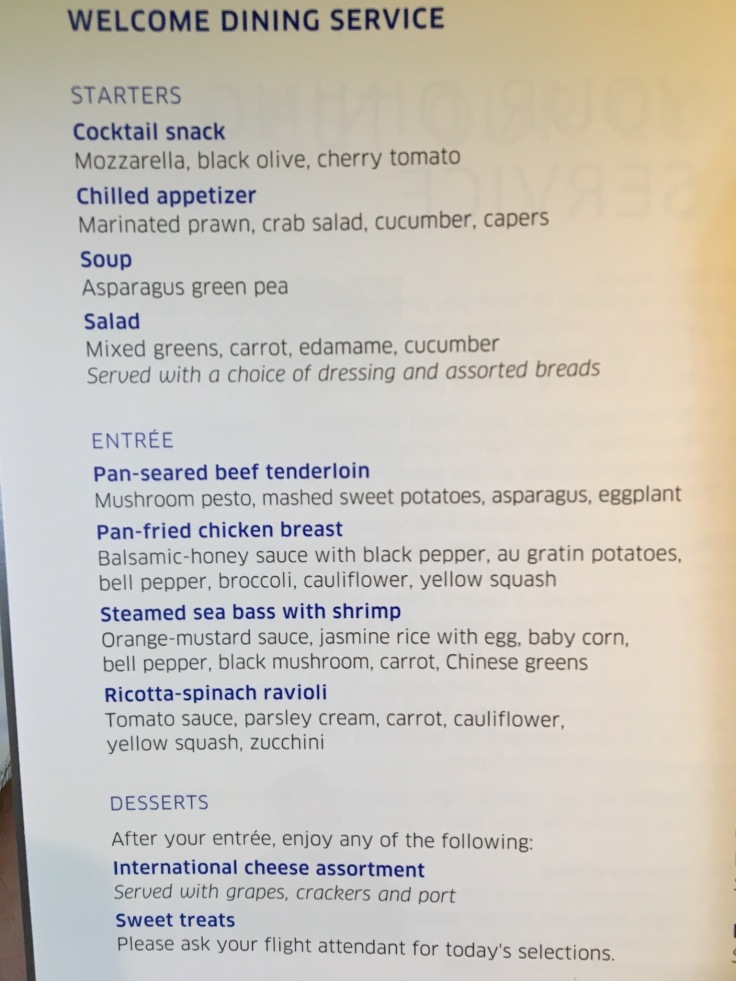 united polaris first soft menu dinner