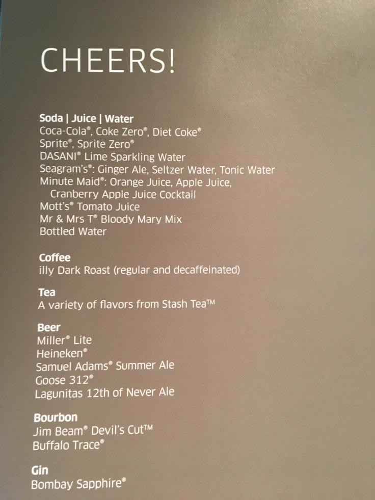 united polaris first soft menu drinks