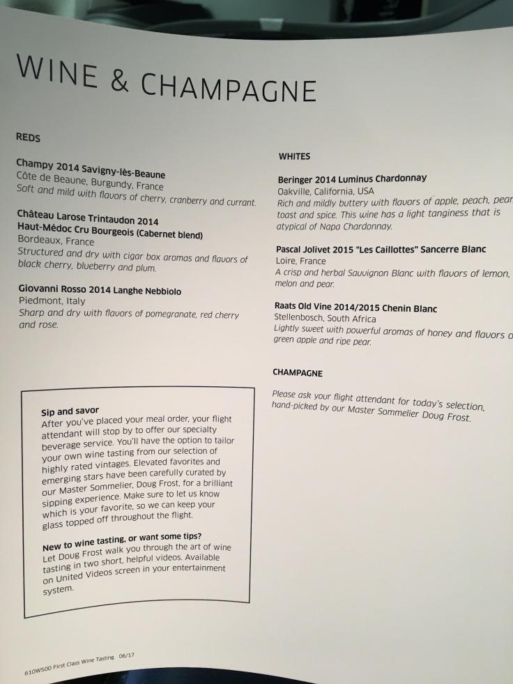 united polaris first soft menu wine list