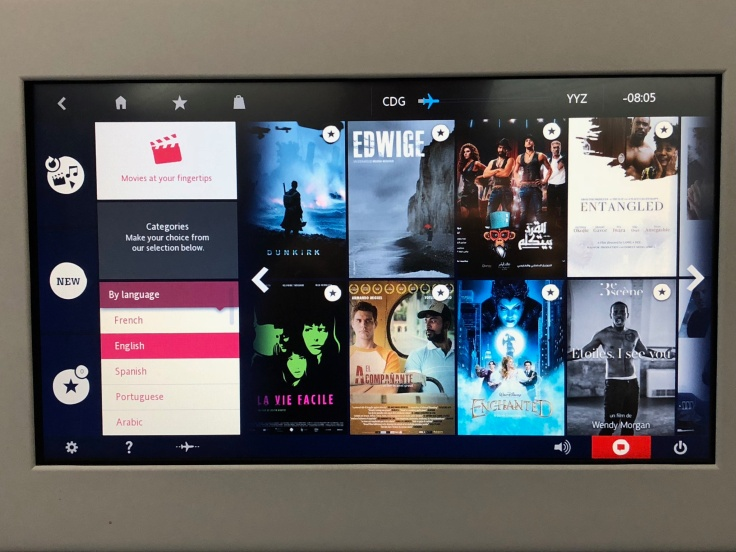 air france business entertainment movie selection
