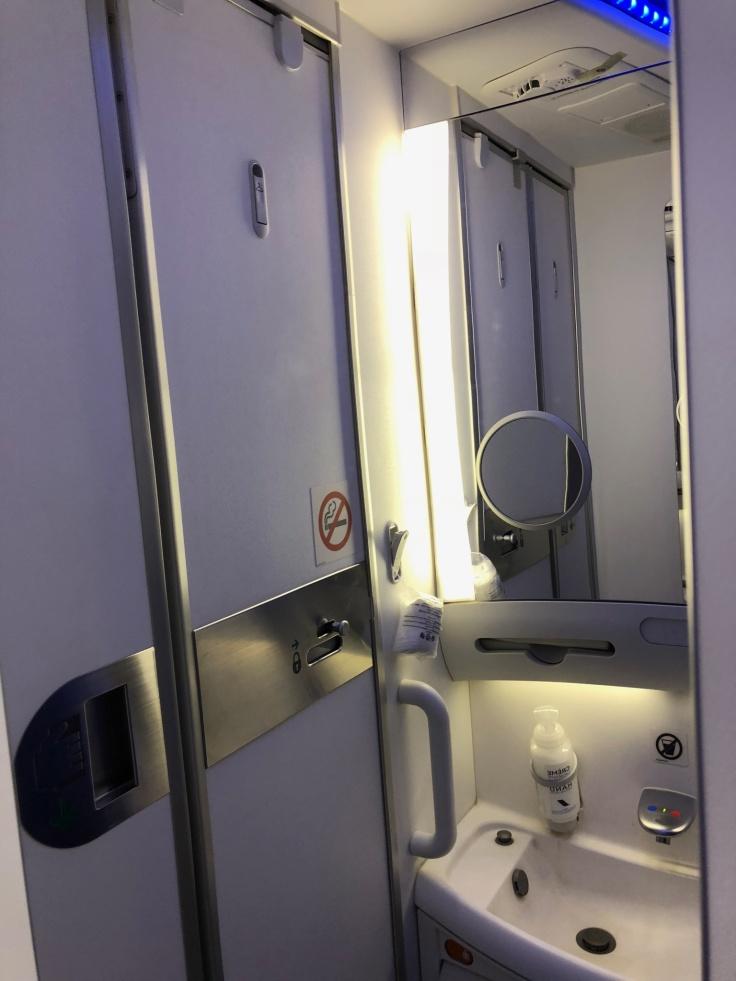 air france business hard bathroom door