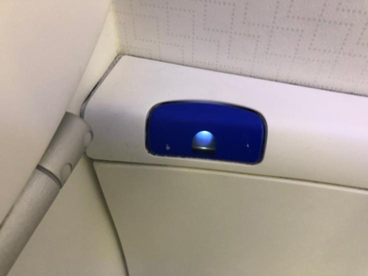 air france business hard bathroom flush