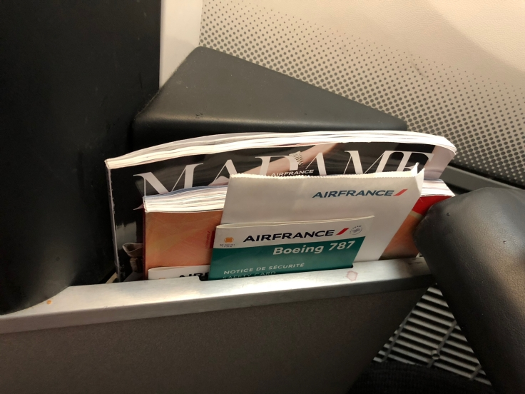 air france business hard seat literature pouch