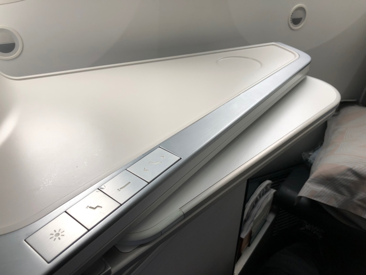 air france business hard seat tray table partial