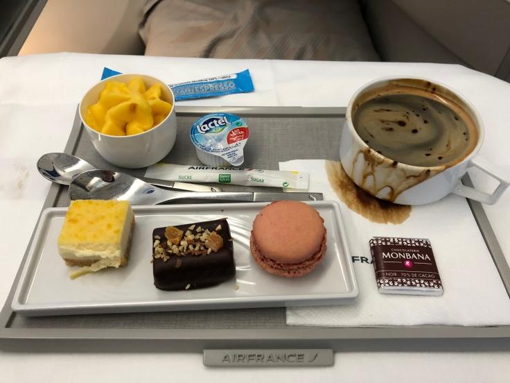 air france business soft dining dessert plate