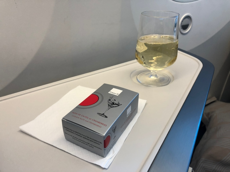 air france business soft dining mixed nuts and champagne