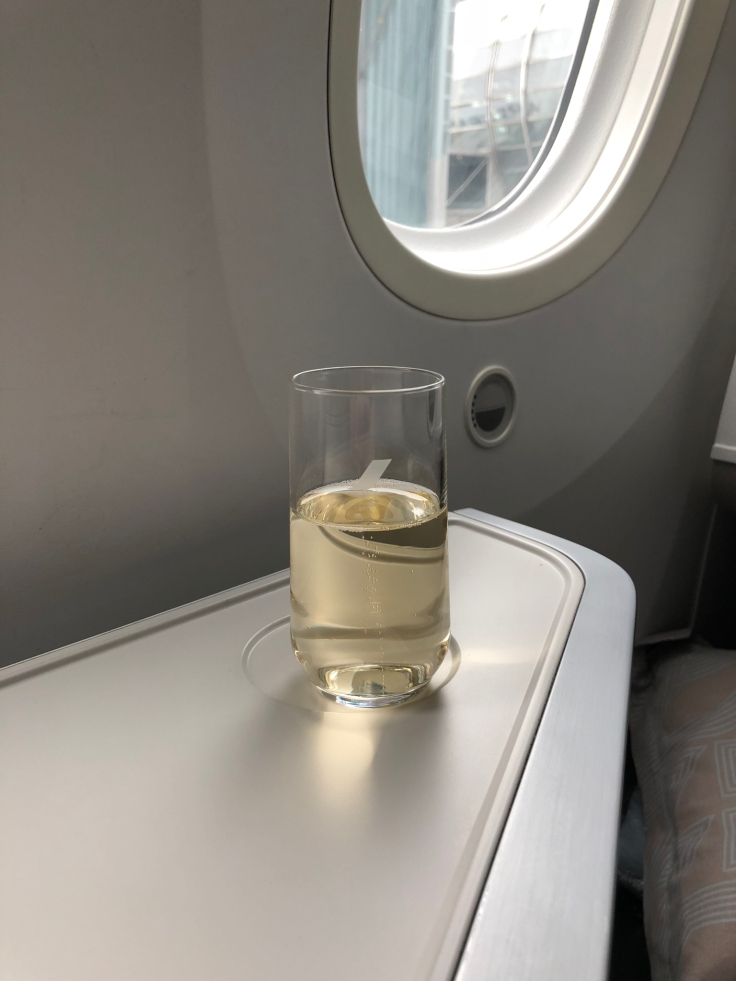 air france business soft dining predeparture champagne