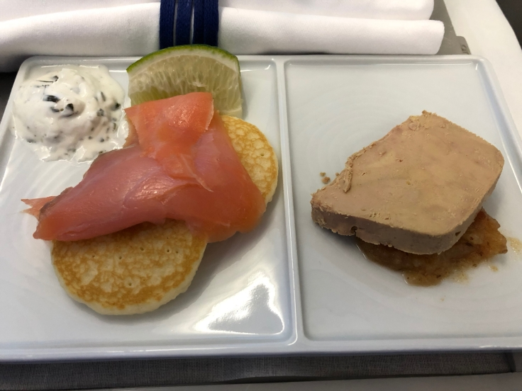 air france business soft dining salmon and foie gras