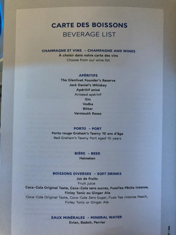air france business soft menu 1