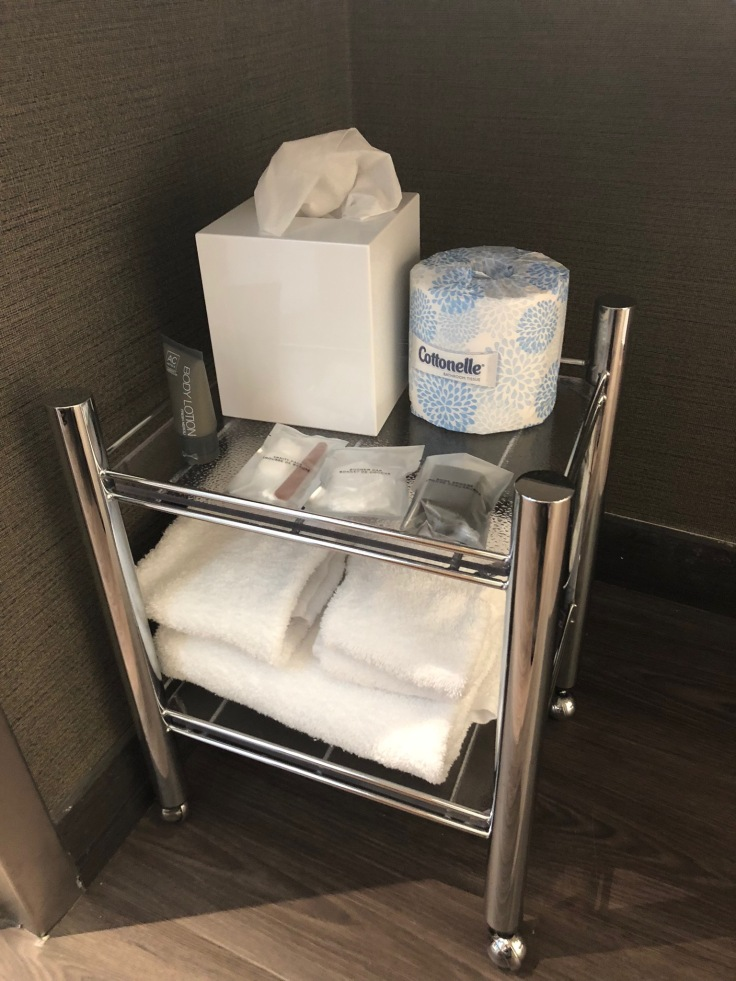 ac hotel new york times square bathroom necessities cart 1