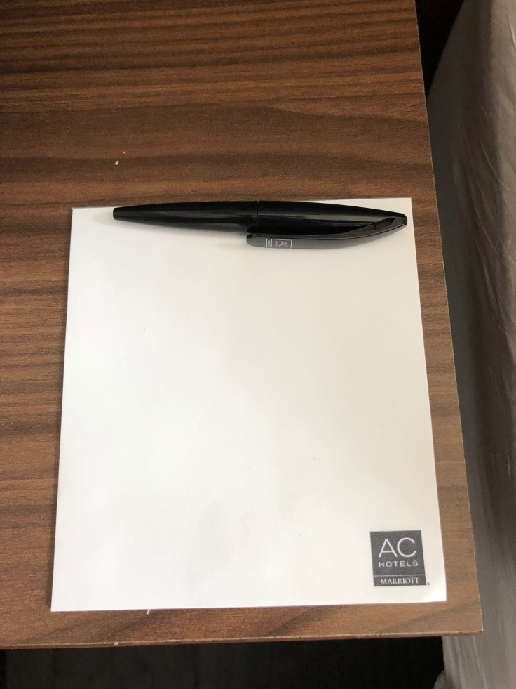 ac hotel new york times square room notepad