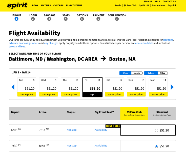spirit airlines booking 1