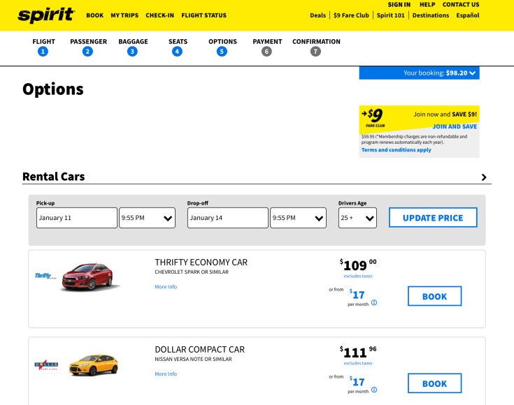 spirit airlines booking 11